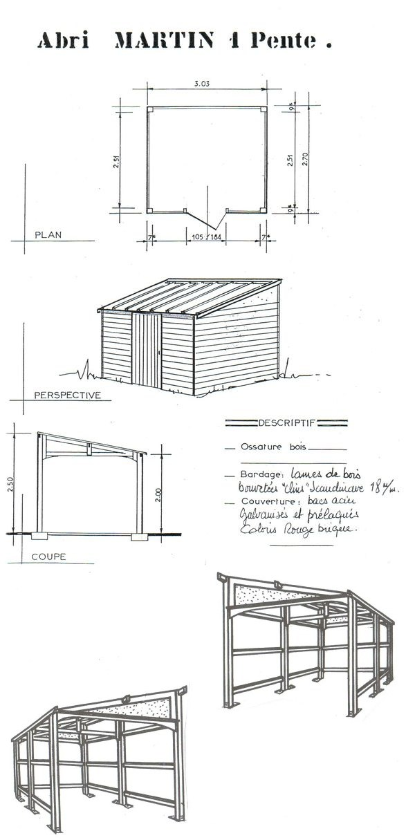 Plan abri de jardin en bois gratuit - maison parallele