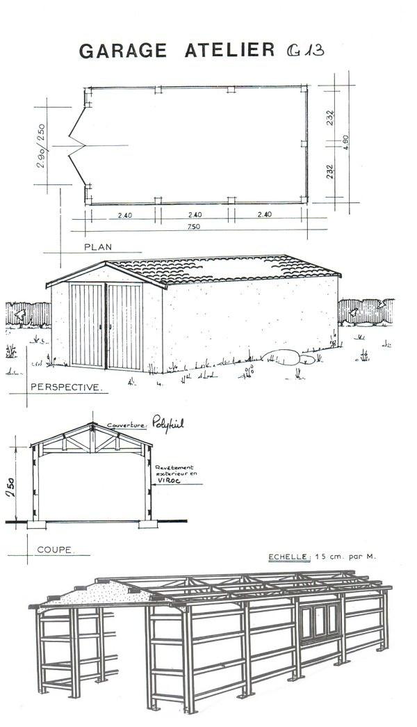 Abri jardin chalet bungalow garages ossature en bois for Plan garage bois